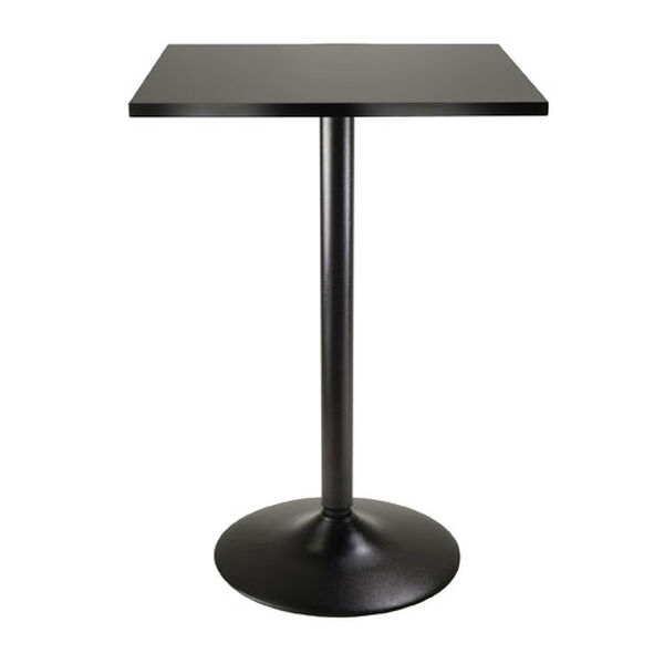 Obsidian Pub Table Square Black MDF Top with Black leg and base, image 1