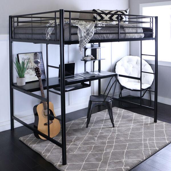 Black Metal Full Loft Bed with Workstation, image 1