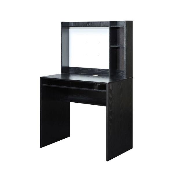 Designs2Go Black Computer Desk with Hutch, image 2