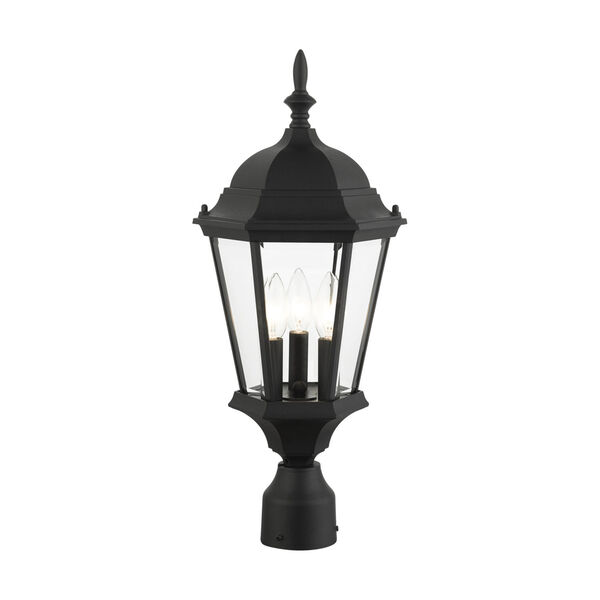 Hamilton Textured Black 10-Inch Three-Light Outdoor Post Lantern, image 4