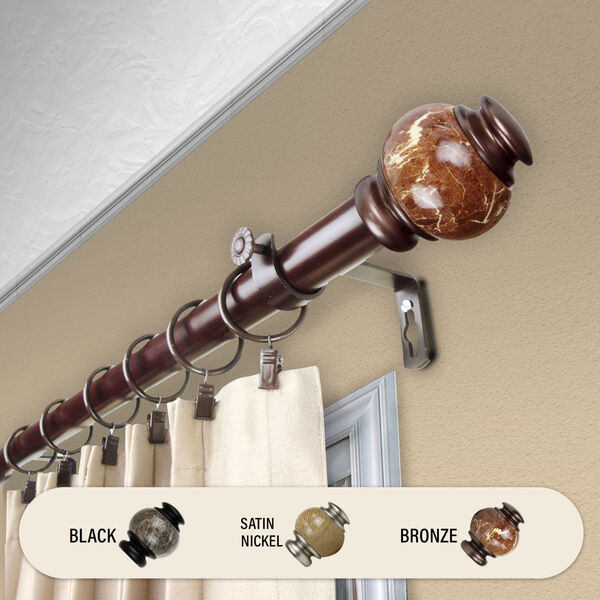 Bronze 84-Inch Marble Curtain Rod, image 2