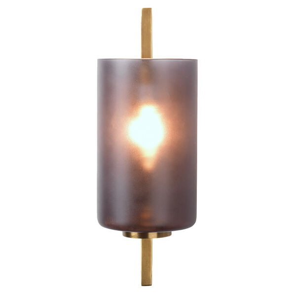 Antique Brass And  Gray Frosted Glass One-Light Wall Sconce, image 3