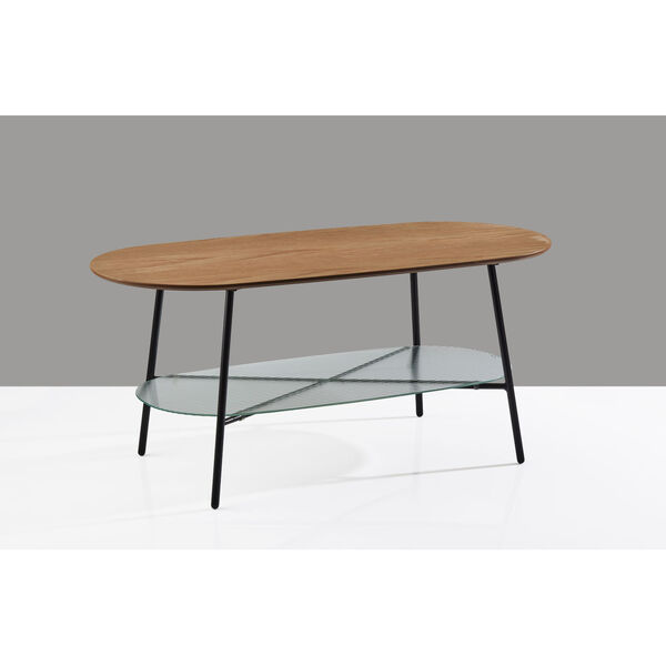 Diane Natural Wood and Black Two-Tiered Coffee Table, image 3