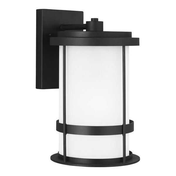 Wilburn Black One-Light Outdoor Medium Wall Sconce with Satin Etched Shade Energy Star, image 2