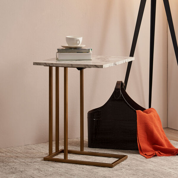 Marmo Faux Marble and Brass C Shape Extension Table with Faux Marble Top, image 4