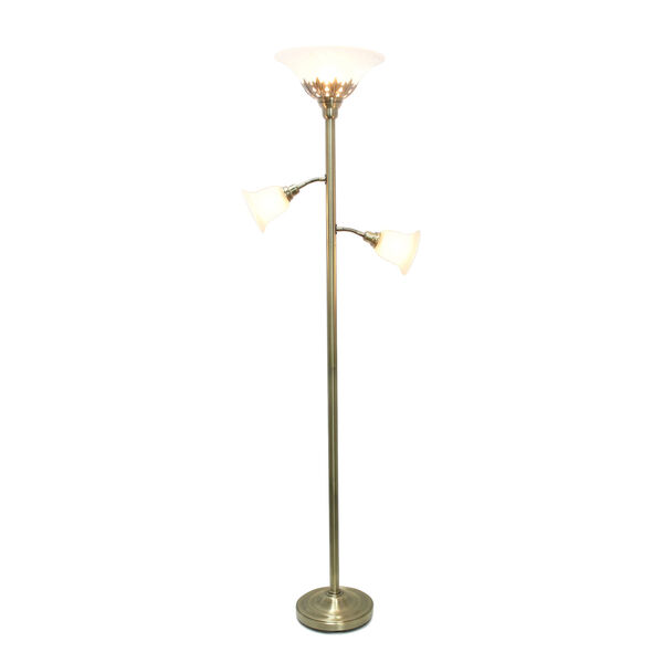 Quince Antique Brass White Shade Three-Light Floor Lamp, image 2