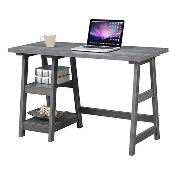 Designs2Go Charcoal Gray Trestle Desk, image 5