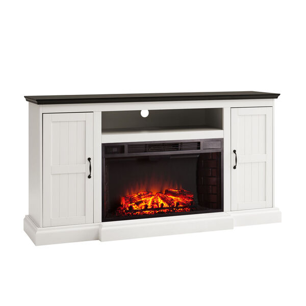 Belranton White and black Widescreen Electric Fireplace with Media Console, image 5