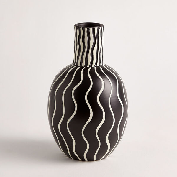 Black and White 7-Inch Graphic Gourd Vase, image 1