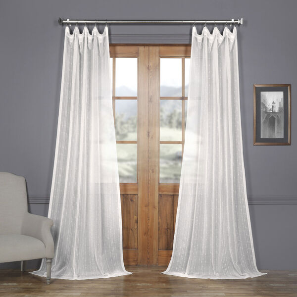 White Striped Faux Linen Sheer 108 x 50 In. Curtain Single Panel, image 1