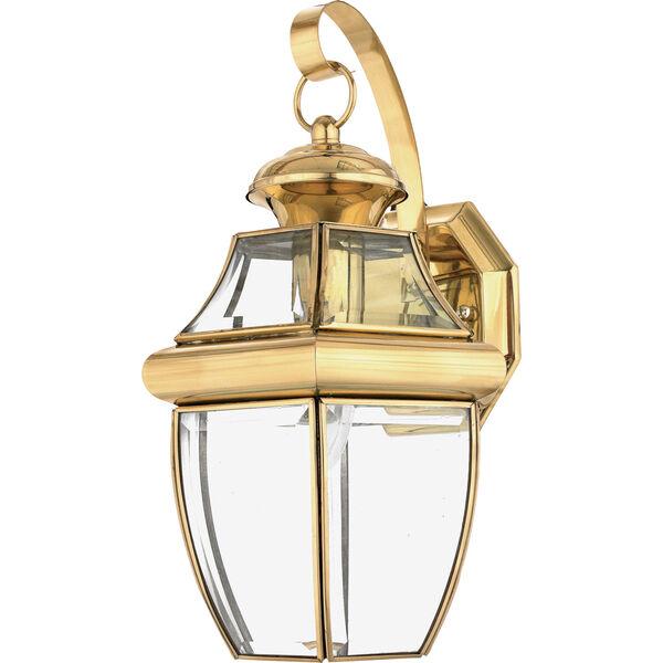 Newbury Polished Brass 14-Inch Outdoor Wall Lantern, image 1