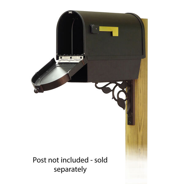 Curbside Black Mailbox with Front Address Number and Floral Front Single Mounting Bracket, image 2