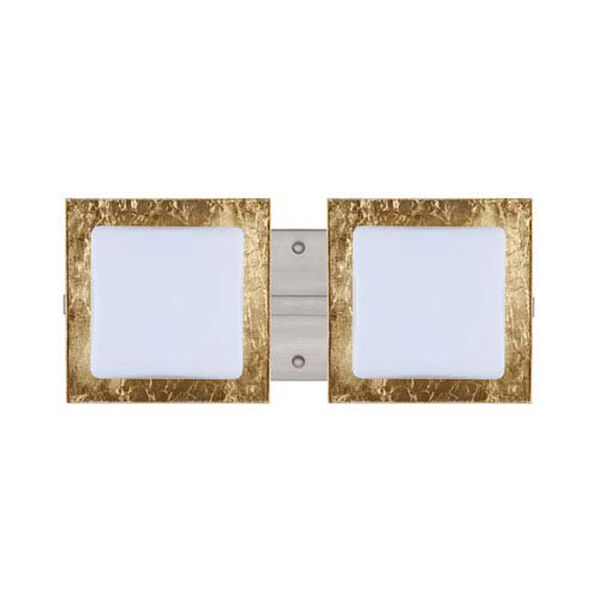 Alex Satin Nickel Two-Light LED Bath Vanity with Opal and Gold Foil Glass, image 1