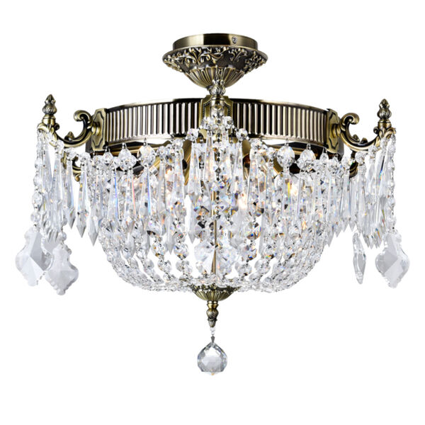 Antique Brass Six-Light Flush Mount with K9 Clear Crystal, image 1