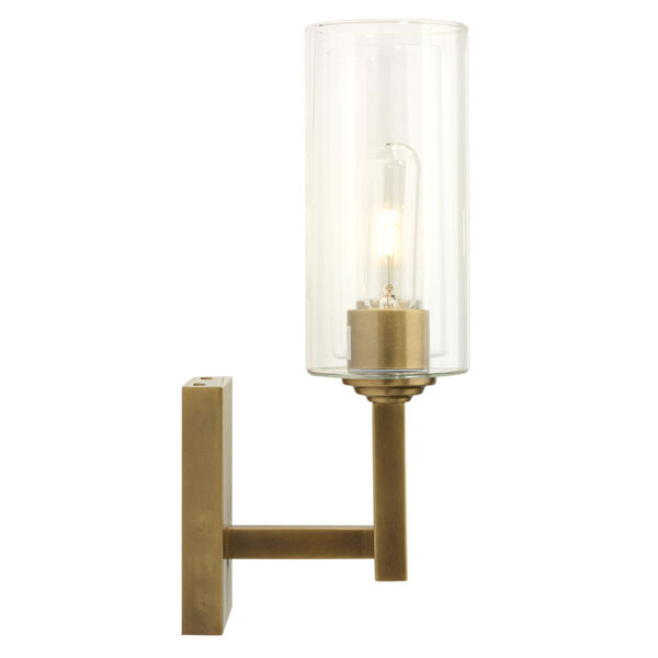 Linear Antique Brass and Clear Glass Two-Light Wall Sconce, image 4