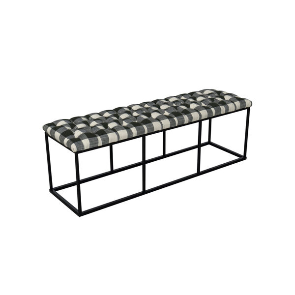 Black and White 52-Inch Hardwood and Plywood Bench, image 4