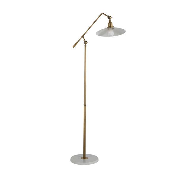 Raphael Matte Brass and Matte White Floor Lamp, image 1