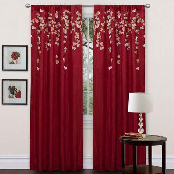 Flower Drop Red Window Curtain Panel, image 1