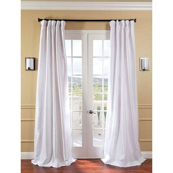 White Faux Silk Taffeta Single Panel Curtain, 50 X 108, image 1