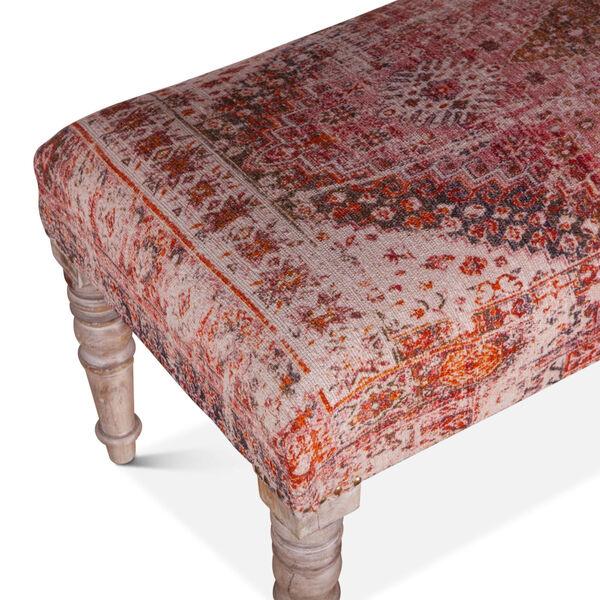 Algiers Tihiri Red and Whitewash Upholstered Bench, image 3