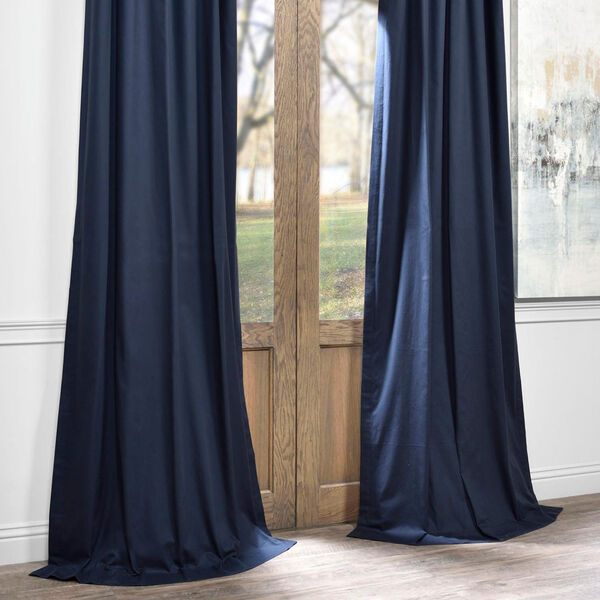 Polo Navy 50 x 84-Inch Solid Cotton Blackout  Curtain, image 6