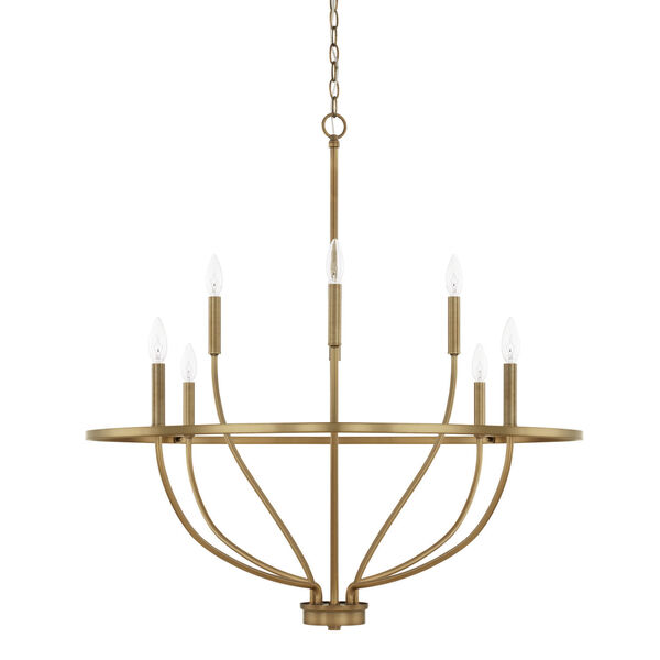 HomePlace Greyson Aged Brass 34-Inch Eight-Light Chandelier, image 1