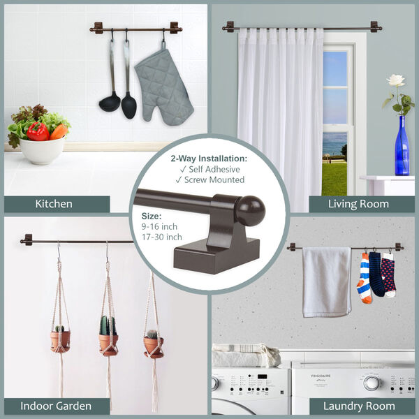 Brown 9-16 Inch Self-Adhesive Wall Mounted Rod, Set of 2, image 3