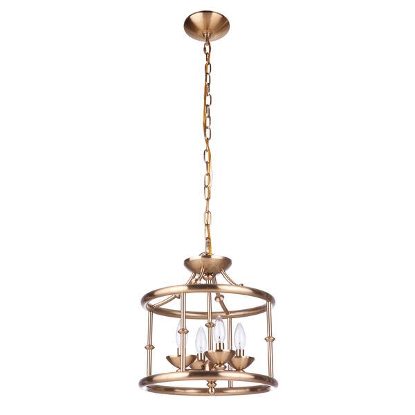 Marlowe Satin Brass Four-Light Convertible Semi Flush, image 1