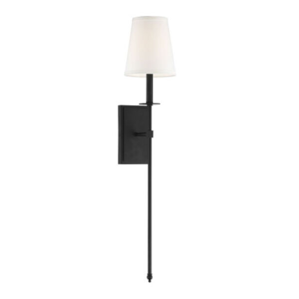Linden Matte Black Seven-Inch One-Light Wall Sconce, image 1