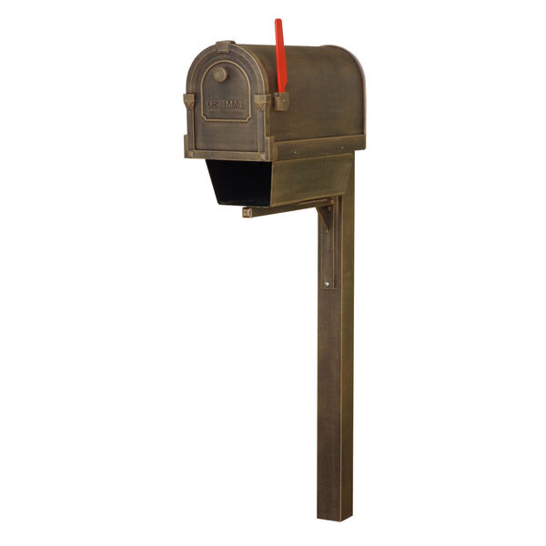 Savannah Curbside Copper Mailbox with Newspaper Tube and Wellington Mailbox Post, image 2
