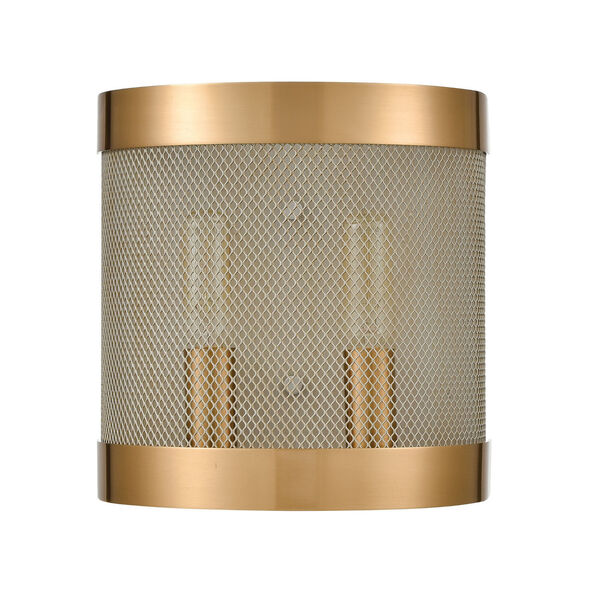 Line in the Sand Satin Brass and Antique Silver Two-Light Wall Sconce, image 2