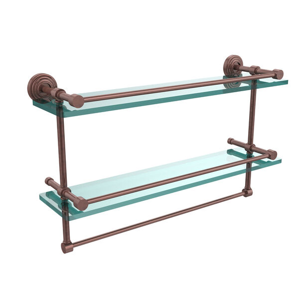 22 Inch Gallery Double Glass Shelf with Towel Bar, Antique Copper, image 1