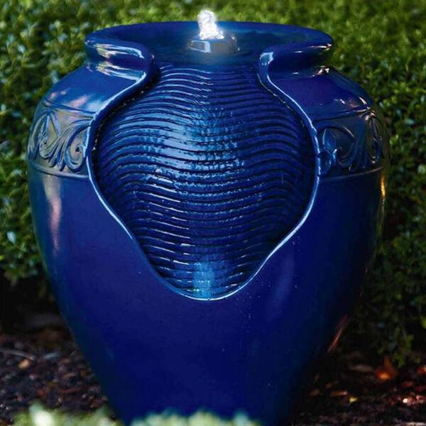 Royal Blue Outdoor Glazed Pot Floor Fountain, image 4