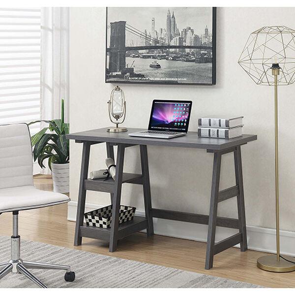 Designs2Go Charcoal Gray Trestle Desk, image 4