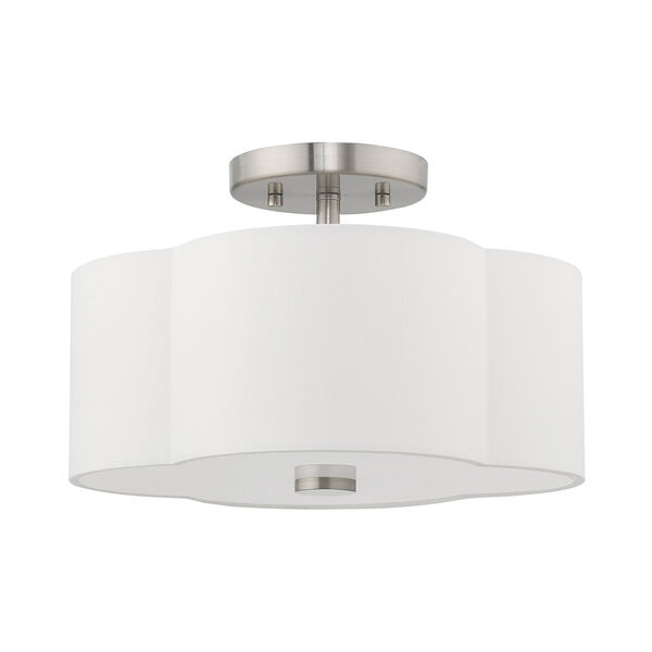 Chelsea Brushed Nickel 13-Inch Two-Light Ceiling Mount with Hand Crafted Off-White Hardback Shade, image 2