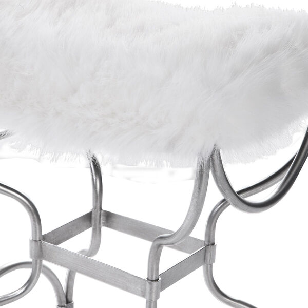 Channon White Fur Small Bench, image 3