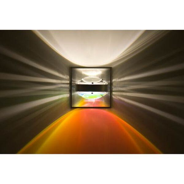 Optos Brushed Aluminum One-Light LED Wall Sconce with Clear and Warm Dicro Lenses, image 1