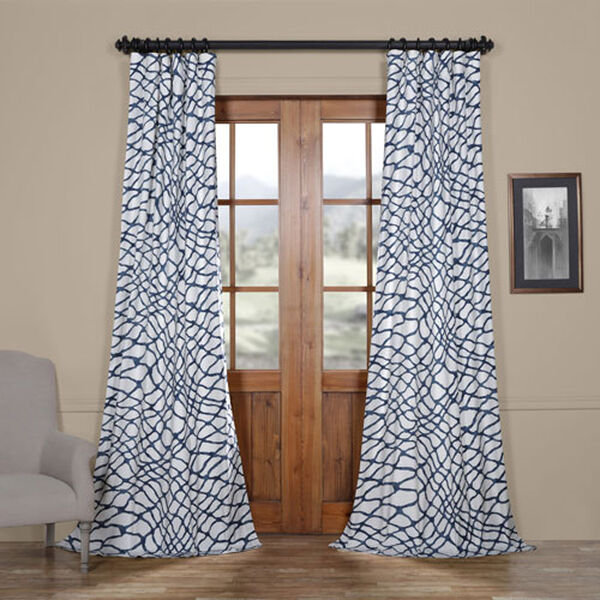 Ocean Blue 120 x 50 In. Printed Cotton Twill Curtain Single Panel, image 1