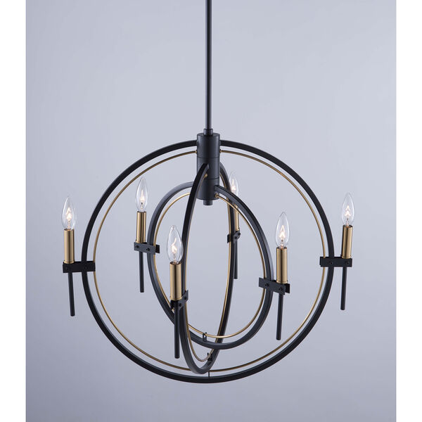 Anglesey Matte Black and Harvest Brass Six-Light Chandelier, image 2