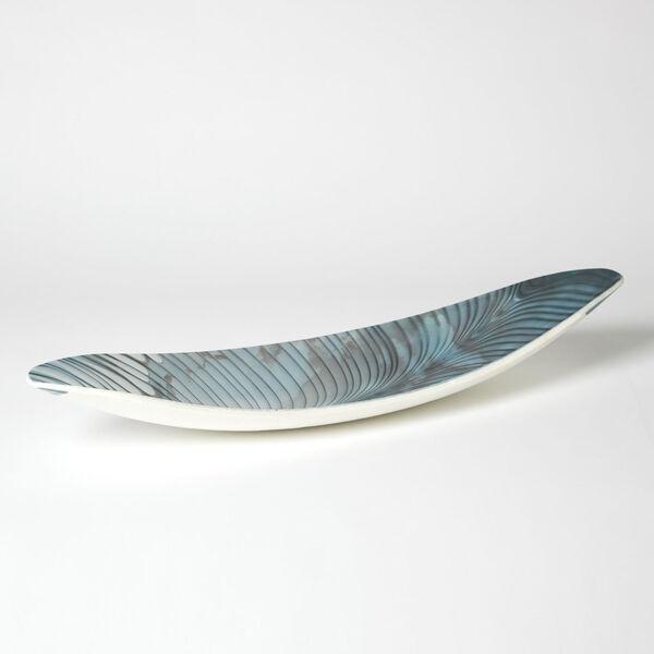 Ivory and Turquoise Six-Inch Feather Swirl Gondola Bowl, image 1