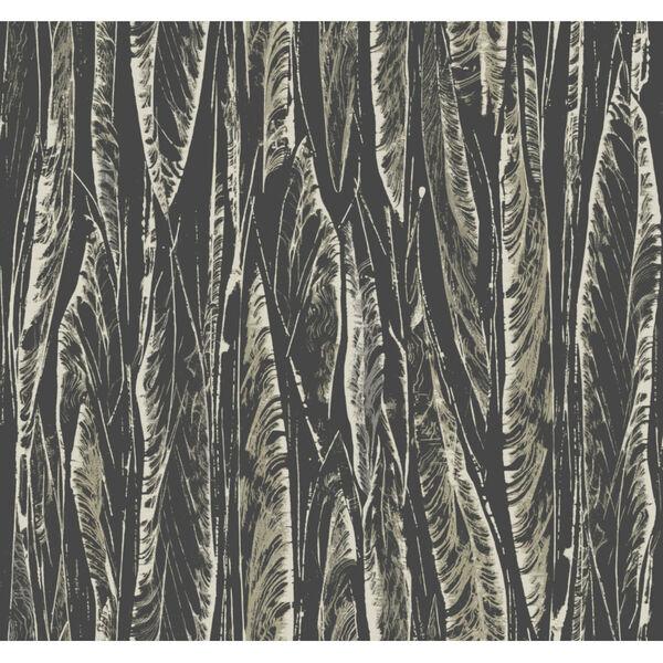 Antonina Vella Elegant Earth Black Native Leaves Bohemian Wallpaper, image 2