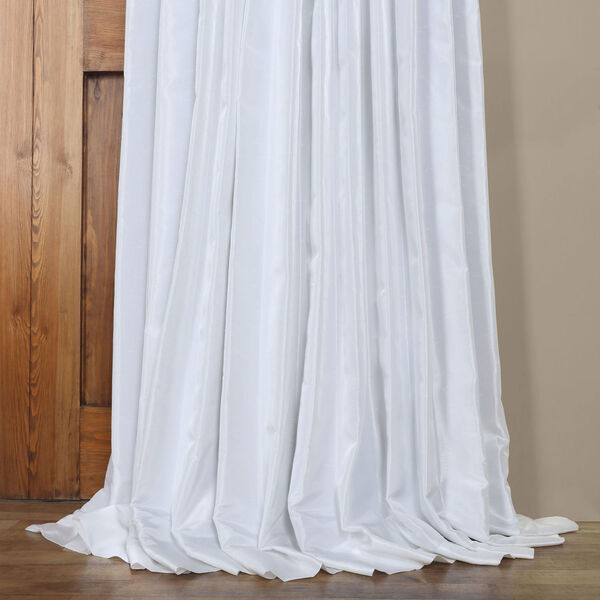White Ice 96 x 100 In. Double Wide Vintage Textured Faux Dupioni Curtain Single Panel, image 5