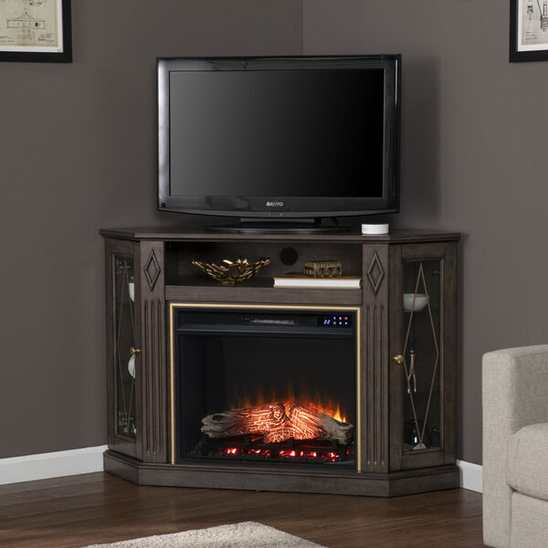 Austindale Light Brown Corner Electric Fireplace with Media Storage, image 1