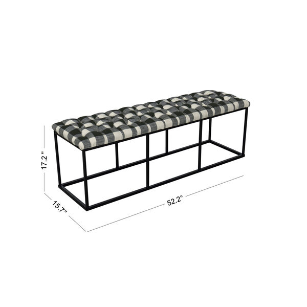 Black and White 52-Inch Hardwood and Plywood Bench, image 2