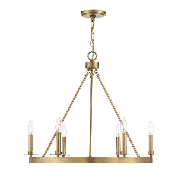 Linden Natural Brass Six-Light Chandelier, image 1