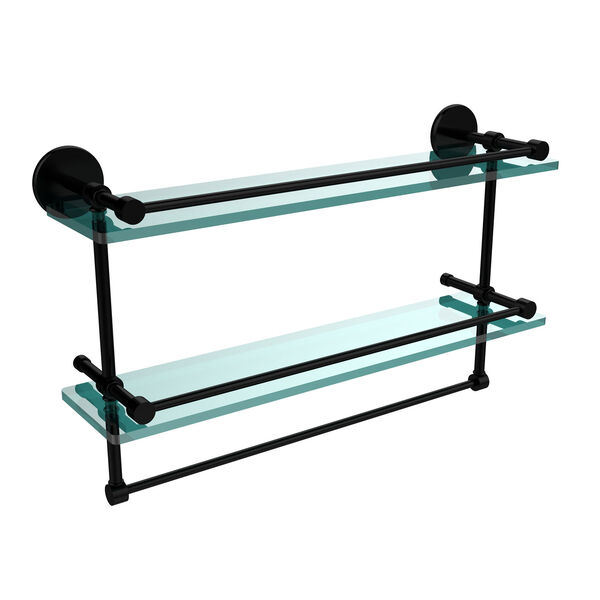 22 Inch Gallery Double Glass Shelf with Towel Bar, Matte Black, image 1