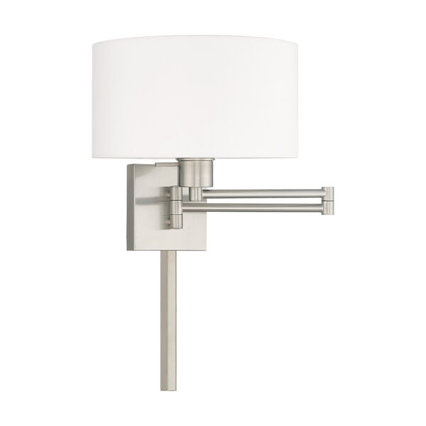 Swing Arm Wall Lamps Brushed Nickel 11-Inch One-Light Swing Arm Wall Lamp with Hand Crafted Off-White Hardback Shade, image 2