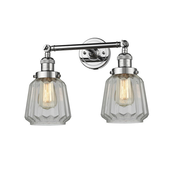 Chatham Polished Chrome Two-Light Bath Vanity with Clear Fluted Novelty Glass, image 1