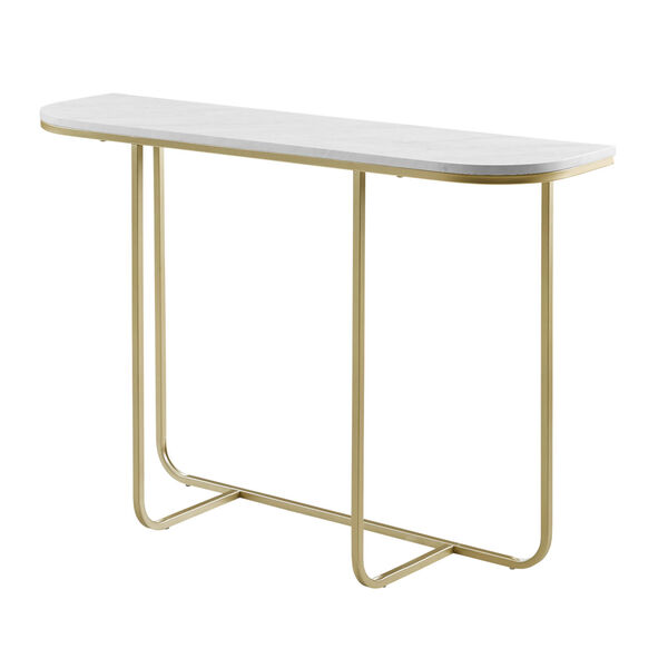 White Faux and Gold 44-Inch Curved Entry Table, image 3