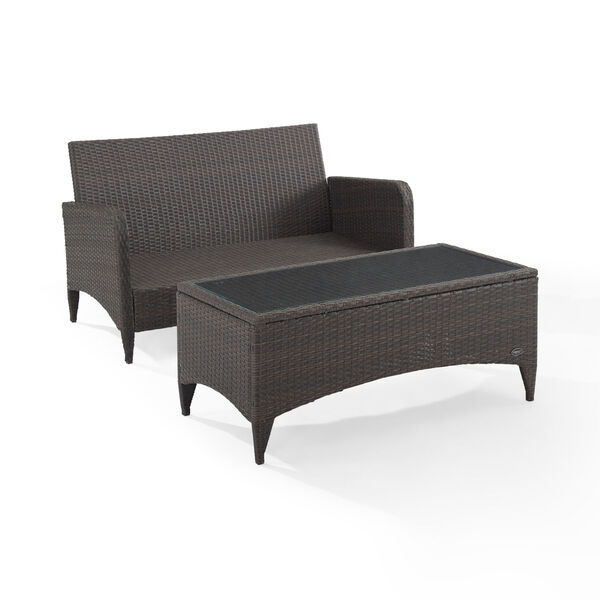 Kiawah Sand Brown Two-Piece Outdoor Wicker Chat Set, image 5